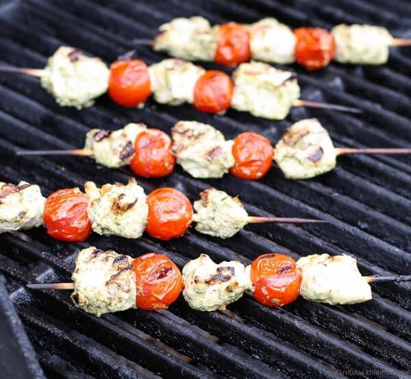 Pesto Yogurt Chicken Kebabs