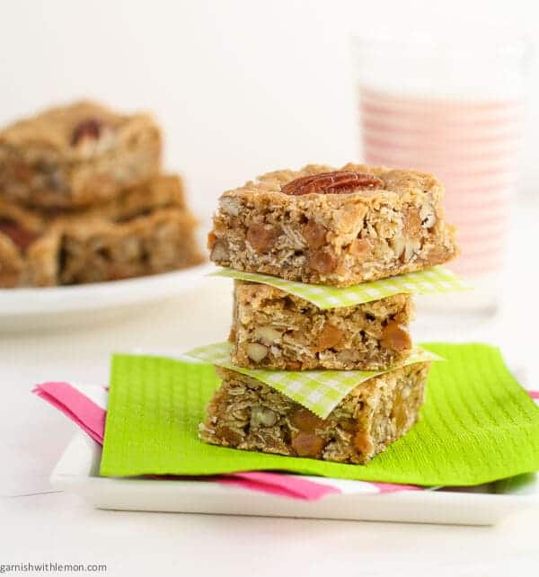 stack of salted oatmeal cookie bars with milk.