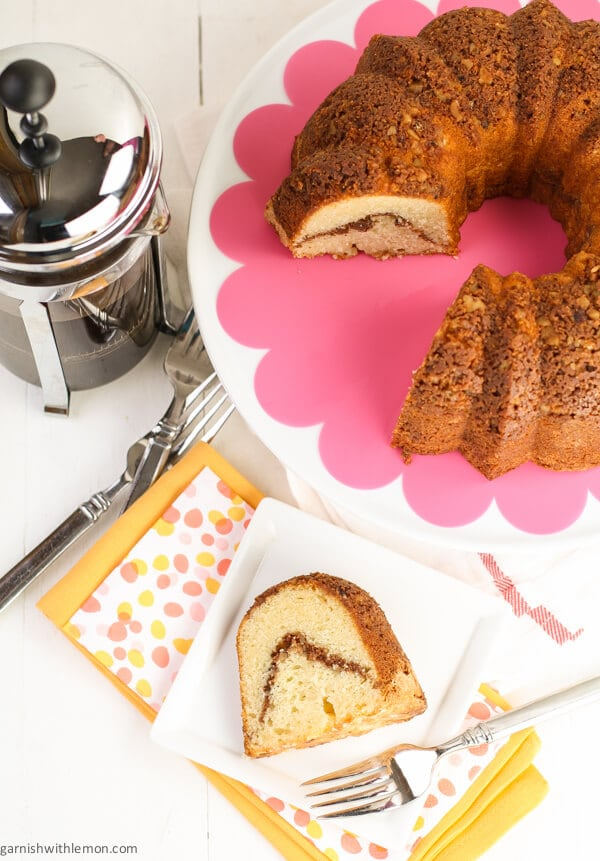 sour cream coffee cake on table with forks.
