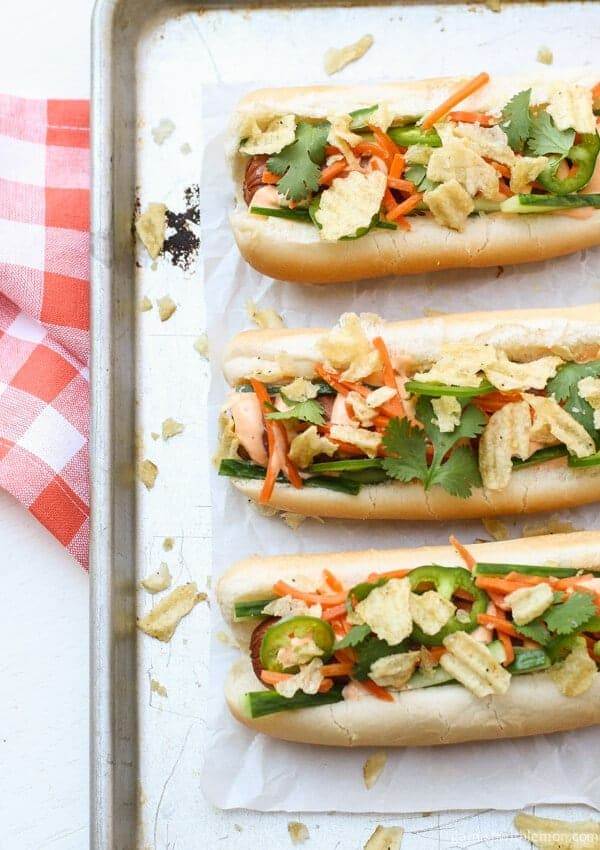 ... some fun to your next grill out with these festive Banh Mi Hot Dogs