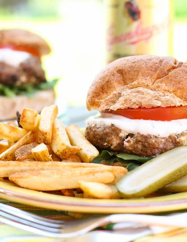 Summer grilling season is made for burgers. Help us celebrate #BurgerWeek with these juicy Lamb Burgers filled with Goat Cheese.