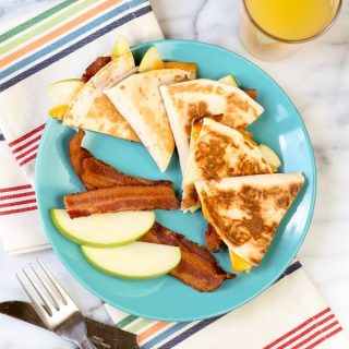 Cheesy Apple Bacon Breakfast Quesadillas