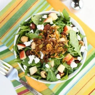 Apple Cider-Arugula Salad with Fried Shallots_