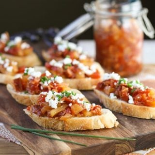 Feta Crostini with Savory Tomato, Bacon & Apple Jam (1 of 2)