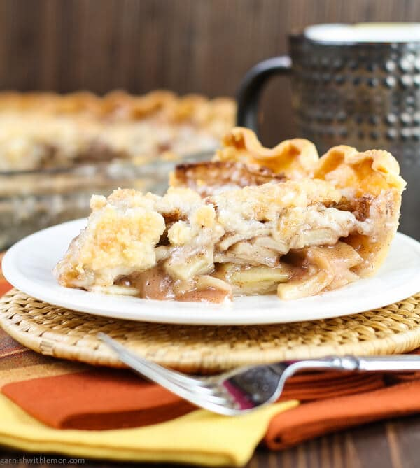 Layers of sliced apples topped with a streusel crumble make this easy Apple Pie recipe a family favorite any time of year!