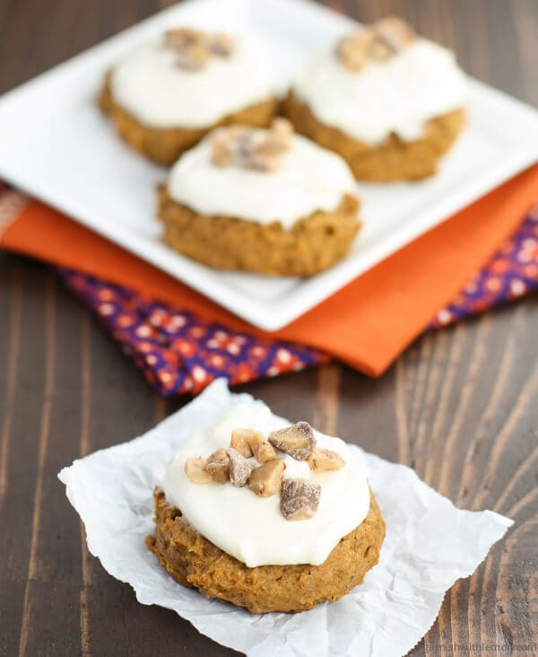 Spiced Pumpkin Cookies with Cream Cheese Frosting - Garnish with Lemon