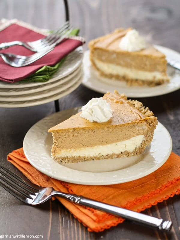 Don't choose between Thanksgiving desserts - have both with this Layered Pumpkin Cheesecake Pie!