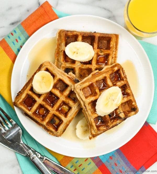 Whole Wheat Peanut Butter Chocolate Chip Waffles - Garnish with Lemon