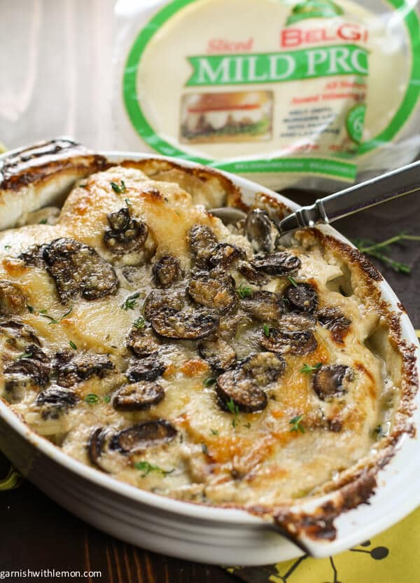 Provolone, Mushroom and Potato Gratin is a simple, flavor packed side dish is a delicious addition to a Thanksgiving meal. Comfort food at its best.