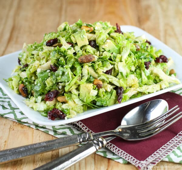 Shaved Brussels Sprouts Salad with Citrus Vinaigrette - Garnish with ...