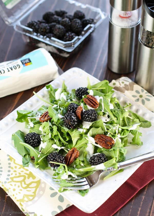 Arugula Salad with Blackberries & Creamy Goat Cheese Dressing | from Garnish with Lemon