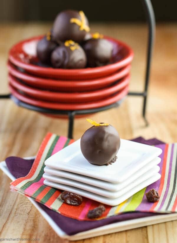 Dark Chocolate Orange Raisin Truffles