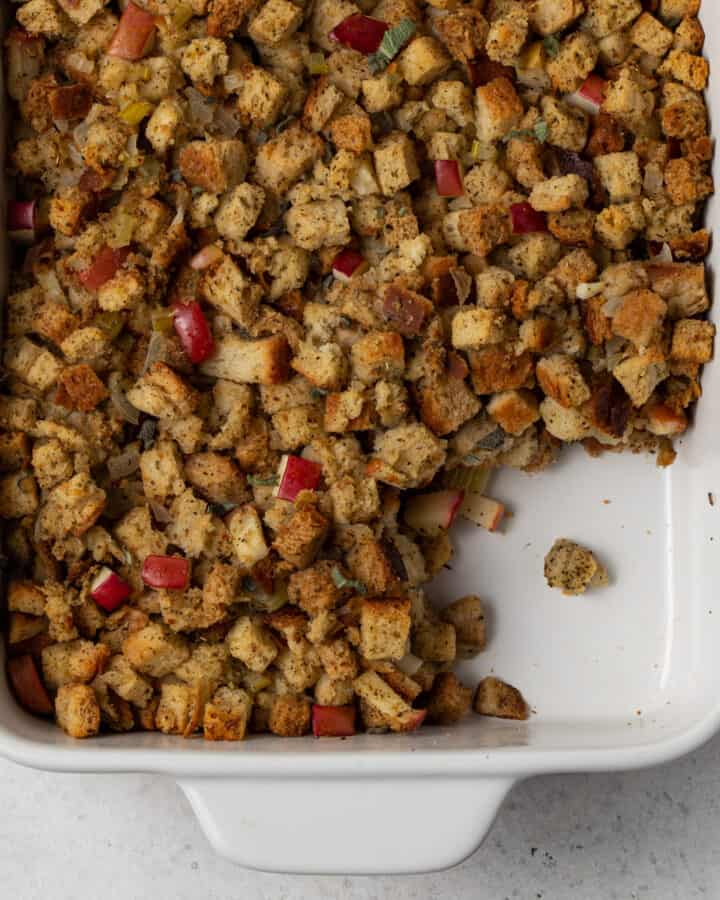 stuffing in white dish