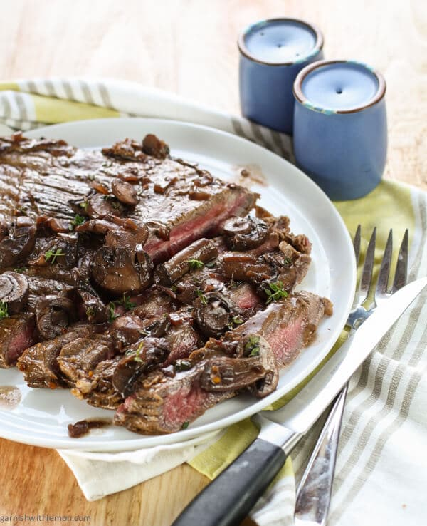 Pan Seared Flank Steak with Red Wine Mushroom Sauce - Garnish with ...