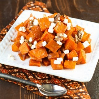Spicy Sweet Roasted Butternut Squash with Goat Cheese