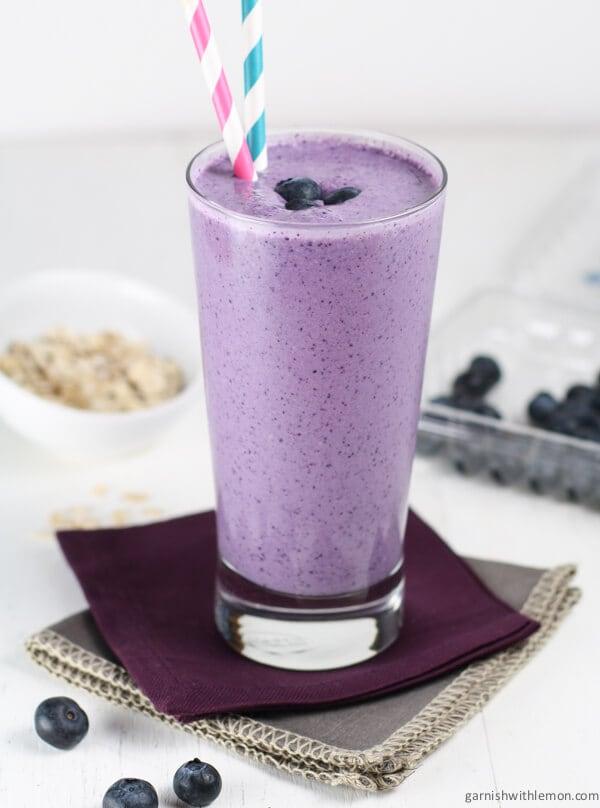 Blueberry Oatmeal Smoothie - Garnish with Lemon