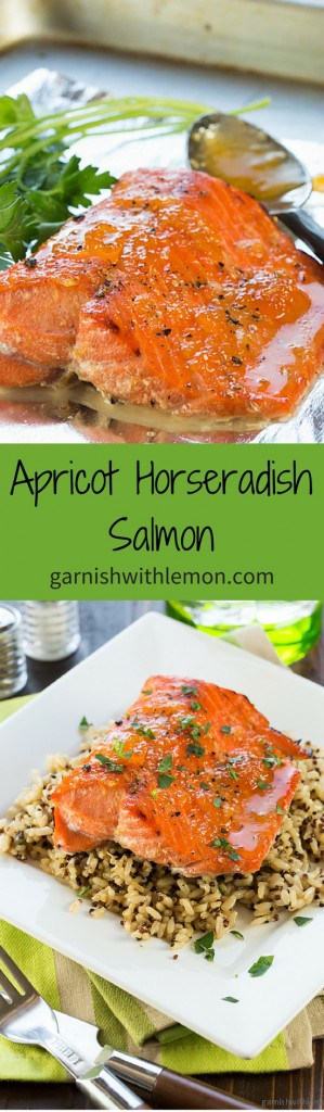 7ef86a64511d Apricot Horseradish Salmon - Garnish with Lemon