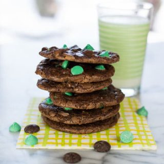Flourless Chocolate Cookies with Mint Chips