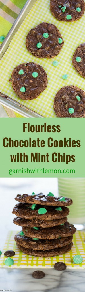 You won't miss the flour in these Flourless Chocolate Cookies with Mint Chips with a crispy bite and a fudgy center.