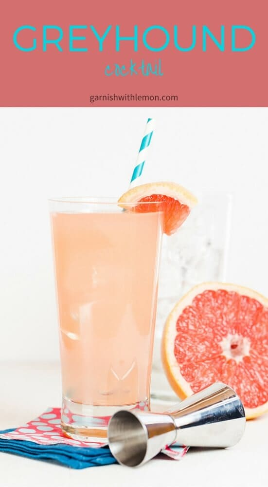 Greyhound Cocktail Recipe- A Greyhound Cocktail is made with freshly squeezed grapefruit juice and gin, making it a tasty alternative to Bloody Marys for Sunday brunch.