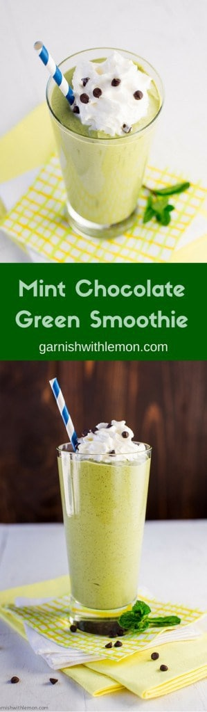 Dessert or Breakfast? No need to choose. This easy Mint Chocolate Green Smoothie recipe is healthy enough that you can enjoy it twice in one day!