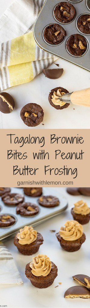Have extra Girl Scout cookies? Make these easy Tagalong Brownie Bites with Peanut Butter Frosting!