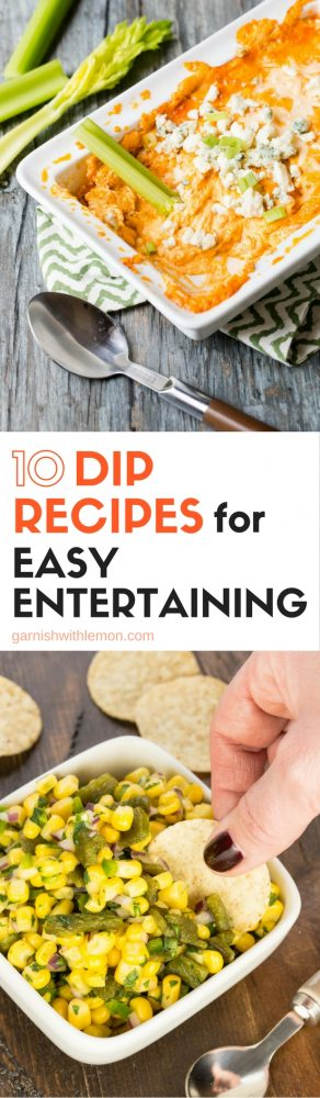 Keep the snacks simple for your next party. Our 10 Dip Recipes for Easy Entertaining has something for everyone!