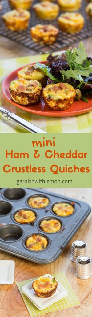 Mini Ham and Cheddar Crustless quiches are perfect for feeding a crowd, be it lunch, brunch or an easy appetizer.