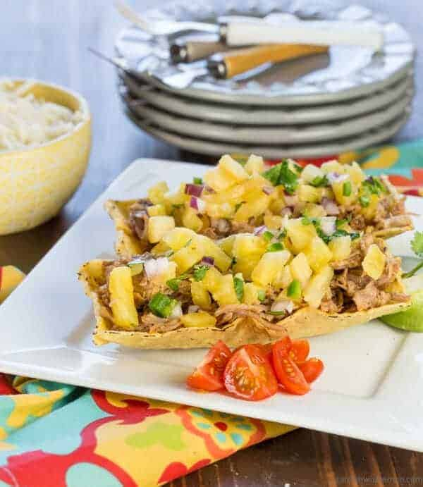 Pulled Pork Taco Boats with Pineapple Salsa