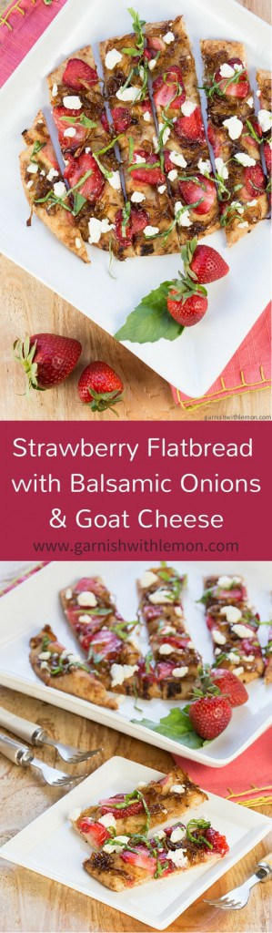 Strawberry Flatbread with Balsamic Onions and Goat Cheese-No one can resist the savory-sweet flavors in this Strawberry Flatbread with Balsamic Onions and Goat Cheese!