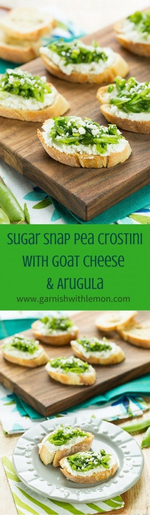 Sugar Snap Pea and Goat Cheese Crostini- Welcome all of spring's fresh flavors with this Sugar Snap Pea Crostini with Goat Cheese and Arugula!