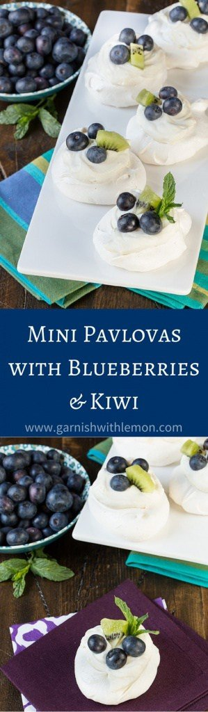 Need a make ahead dessert? Look no further than these Mini Pavlovas with Blueberries and Kiwi. This light and airy dessert is seasonless and can be made with any fruit you choose