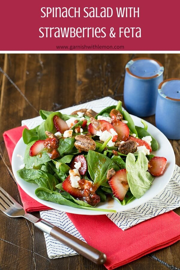 Juicy Strawberries are the star of this Spinach Salad and the perfect way to use that bumper crop summer of berries.