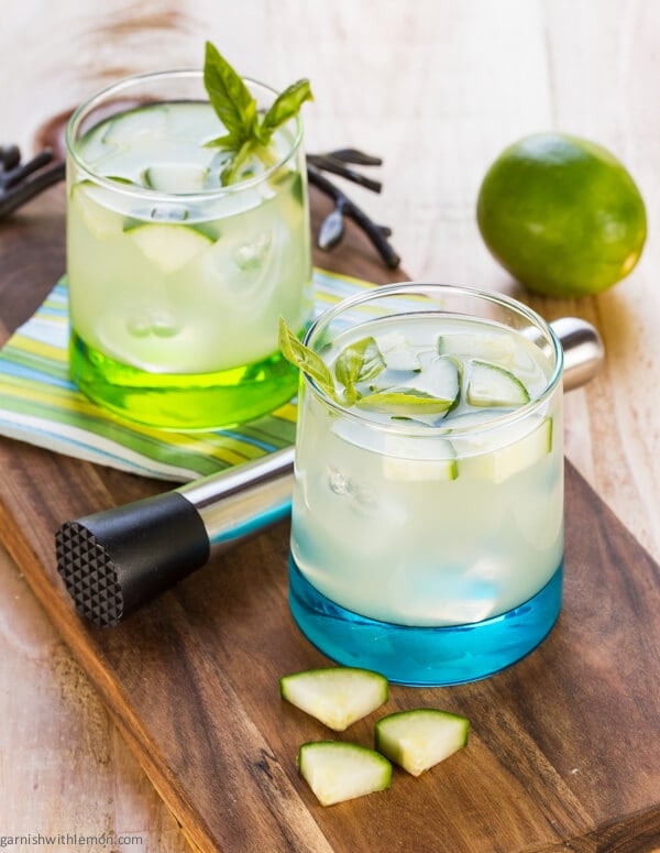 This Cucumber Basil Vodka Gimlet is a staple in every home bar!