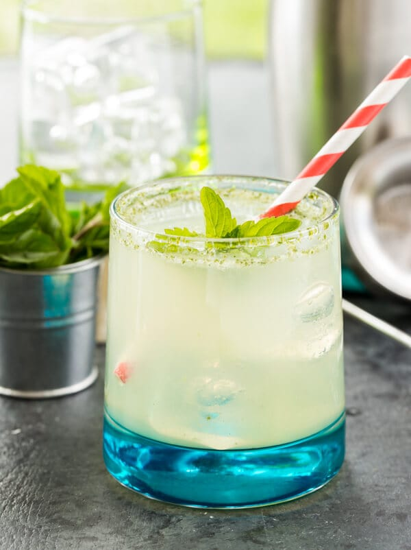 straight on image of bootleg cocktail recipe with fresh mint for garnish.