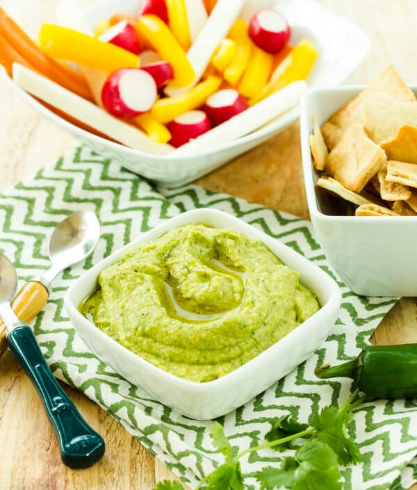 Make a double batch of this deliciously flavorful and silky smooth Cilantro Jalapeno Hummus. You won't believe how quickly it disappears!