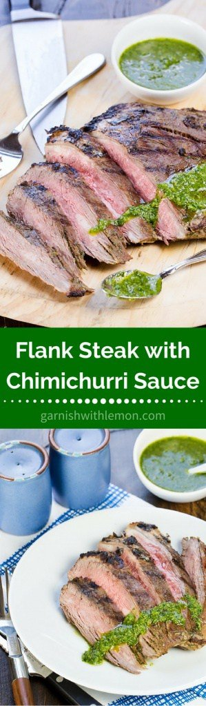 Flank Steak with Chimichurri Sauce -Fresh herbs from the garden make this Flank Steak with Chimichurri Sauce my favorite way to eat steak in the summertime.