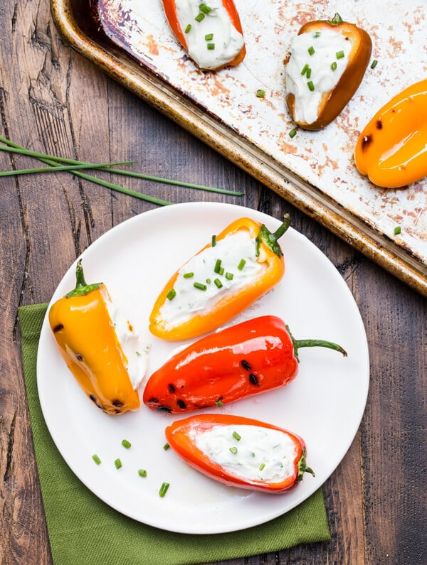The grill isn't just for dinner! Use it for appetizers, too. with this Grilled Peppers with Goat Cheese recipe