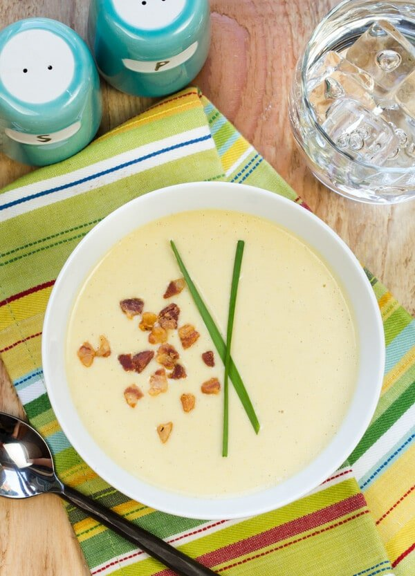 Sweet Corn and Squash Soup with Crispy Pancetta
