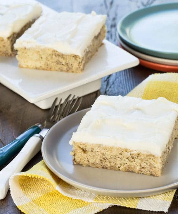 An easy banana bar recipe with cream cheese frosting that always