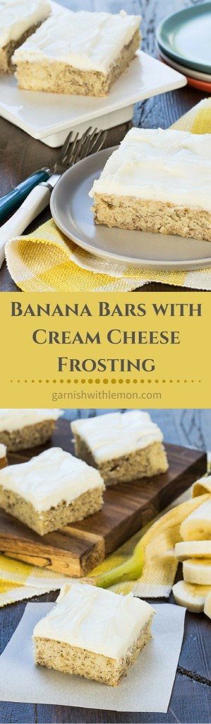 An easy banana bar recipe with cream cheese frosting that always disappears! Perfect for large groups or an after school snack.