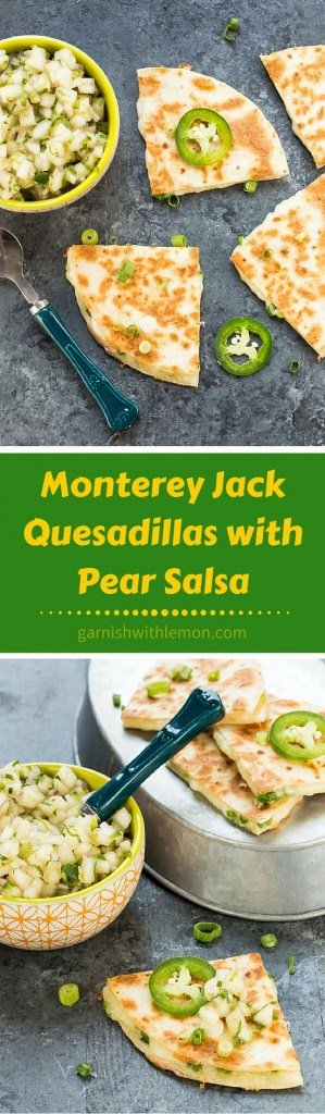 These Monterey Jack Quesadillas with a sweet and savory Pear Salsa make a delicious light meal or substantial appetizer for a party. Total crowd pleaser!