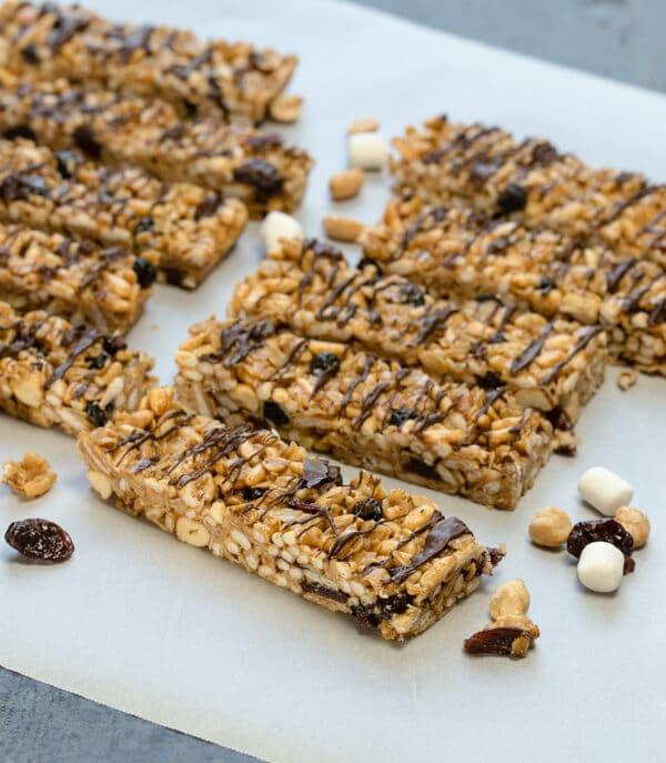 Portable, healthy and filling, these homemade Peanut Butter Granola Bars with Dried Cherries are the perfect way to make sure your day gets started right.