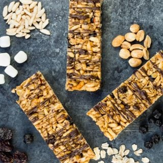 Peanut Butter Granola Bars with Dried Cherries