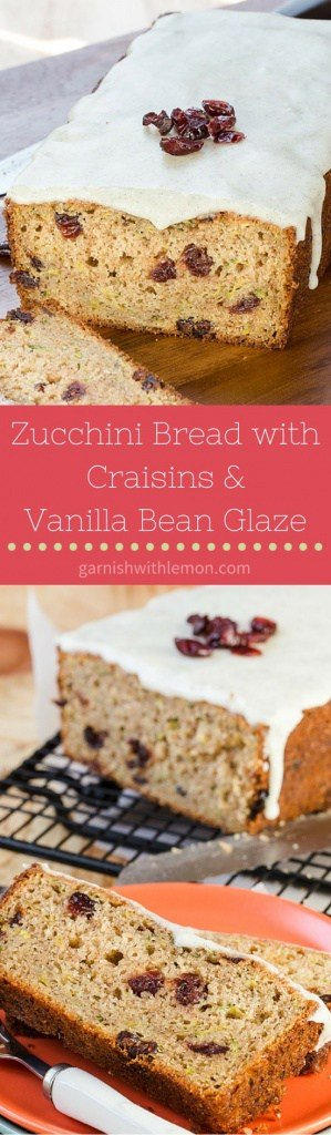 This Zucchini Bread with Craisins and Vanilla Bean Glaze is a tasty twist on a tried and true favorite.
