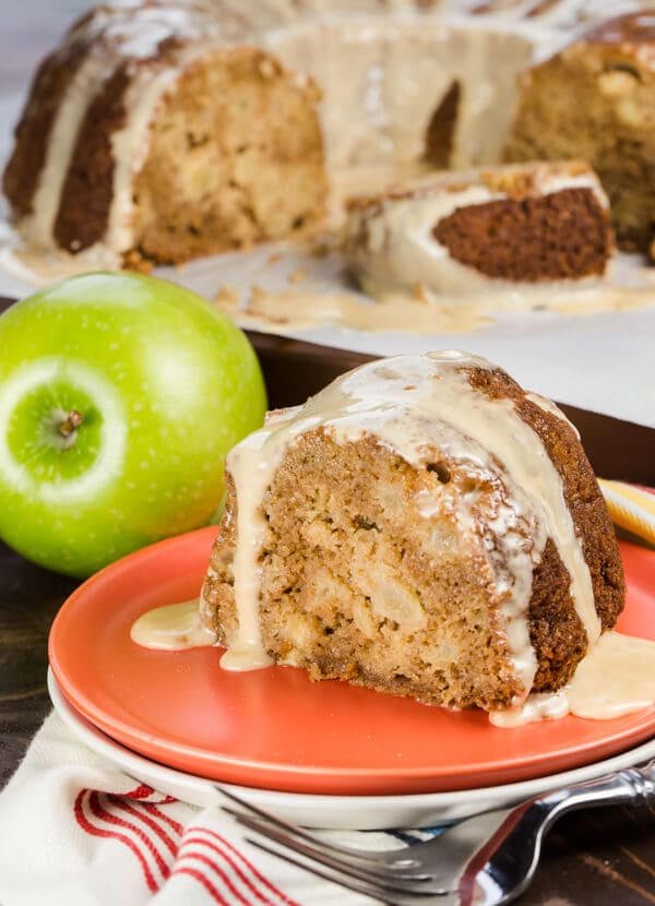 Apple Bundt Cake with Salted Caramel Glaze is a one bowl cake filled with apple chunks in every bite! How can you go wrong with apple, cinnamon and caramel?