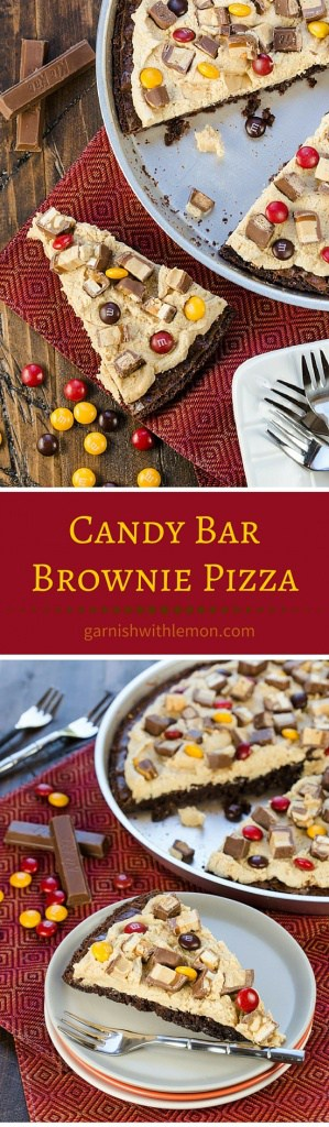 Get creative with your leftover Halloween Candy! It's hard to just eat one piece of this chewy, fudgy and peanut butter filled Candy Bar Brownie Pizza!