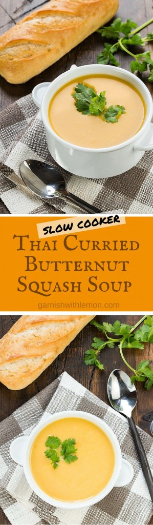 Add rich coconut milk, savory curry paste & fresh butternut squash to your slow cooker & enjoy a savory bowl of Thai Curried Butternut Squash Soup hours later.