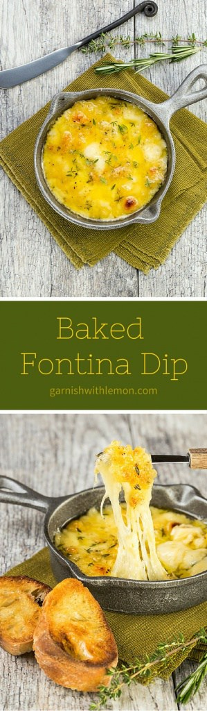 Need an easy, last minute appetizer that is still impressive? Just 10 minutes separates you from this savory Baked Fontina Dip recipe with garlic and herbs.