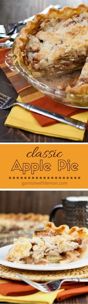 Classic Apple Pie -Layers of sliced apples topped with a streusel crumble make this easy Apple Pie recipe a family favorite any time of year!